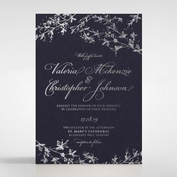 Silver foiled branches flowing through the edge of a cotton navy card