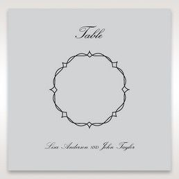 Silver/Gray Jeweled Romance Laser Cut - Table Number Cards - Wedding Stationery - 35