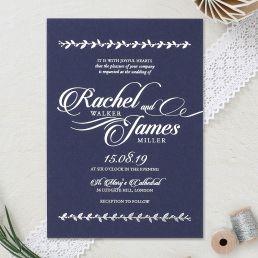 Charming leaf inspired framed invite on navy blue card