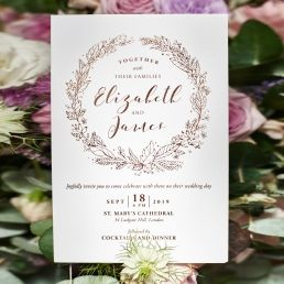 Sleek and stylish garland inspired invite on premium white card