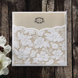 Organic brown craft paper with monogram initials, secured in an adorable floral laser cut outer pocket cover embellished with shiny pearls