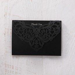 White Jeweled Romance Black Laser Cut - Thank You Cards - Wedding Stationery - 45