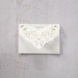 Silver/Gray Jeweled White Lasercut Pocket - Thank You Cards - Wedding Stationery - 48