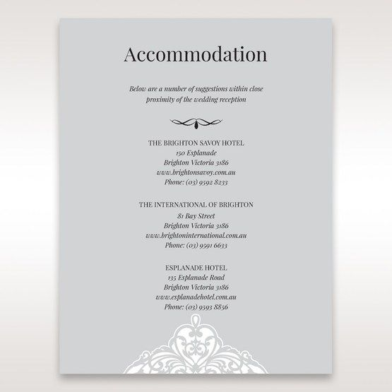 Silver/Gray Jeweled White Lasercut Pocket - Accommodation - Wedding Stationery - 89