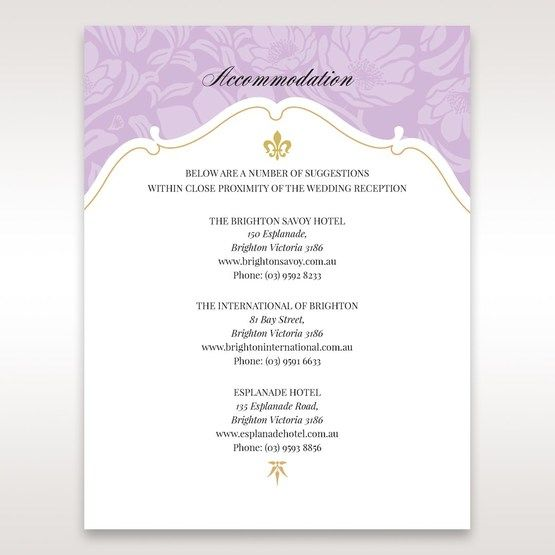 Purple Gold Foiled Floral Laser Cut - Accommodation - Wedding Stationery - 97