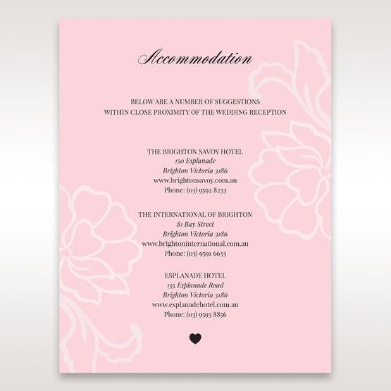 Pink Floral Laser Cut with Embossing - Accommodation - Wedding Stationery - 9