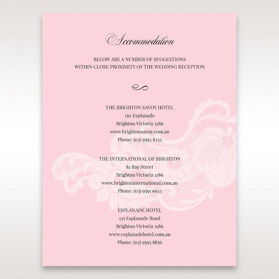 Pink Laser Cut Floral Half Pocket  - Accommodation - Wedding Stationery - 26