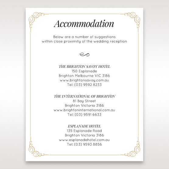 Yellow/Gold Embossed Borders with Classy Gold patterns - Accommodation - Wedding Stationery - 90