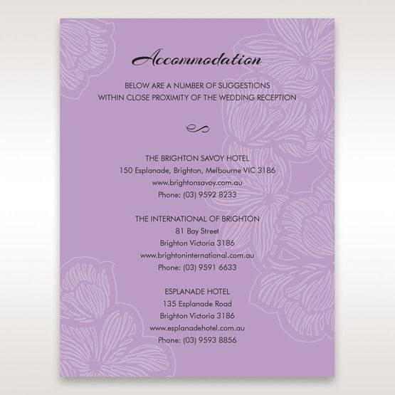 Purple  Laser Cut Flower Frame III - Accommodation - Wedding Stationery - 8