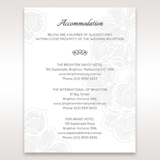 White  Laser Cut Floral Lace - Accommodation - Wedding Stationery - 9