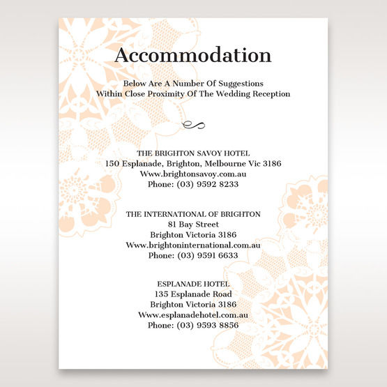 Orange  Laser Cut Floral Frame - Accommodation - Wedding Stationery - 44