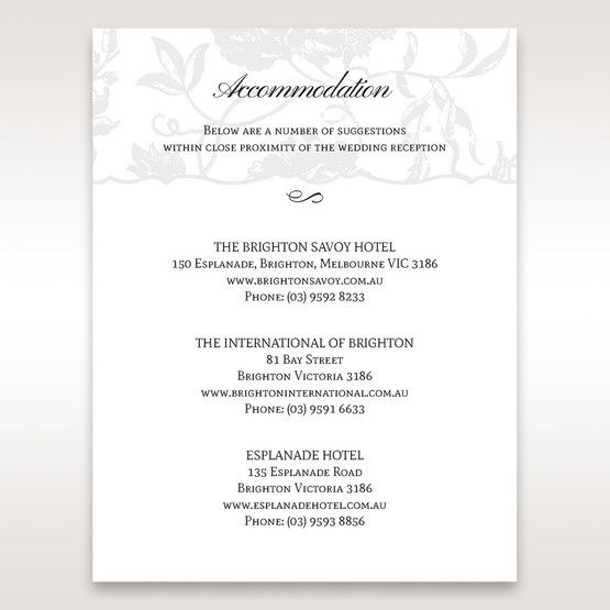 Silver/Gray Enchanted Floral Pocket III - Accommodation - Wedding Stationery - 50