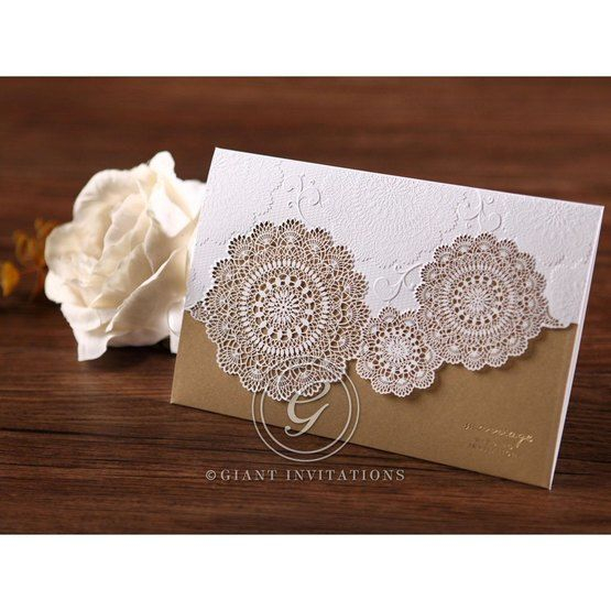 Gold trifold laser cut wedding invitation, gold foil stamping, matte finish paper, lace design, full view