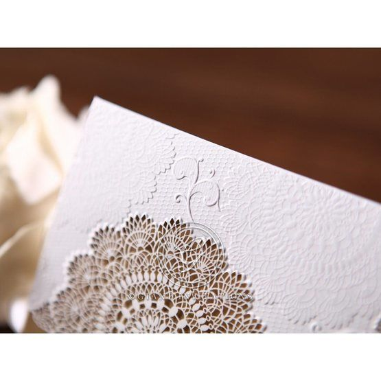 Embossed flowers detail in white wrap