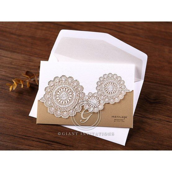 White and gold vintage lasercut invitation with envelope