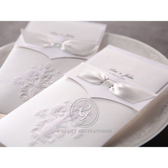 Tri folded classical invitation with embossed pocket and white insert