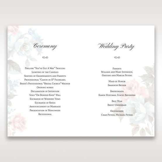 Blue Magical Flower Garden - Order of Service - Wedding Stationery - 73