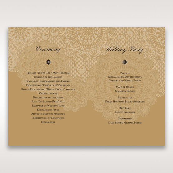 Yellow/Gold Tri-Fold Laser Cut Gold - Order of Service - Wedding Stationery - 75