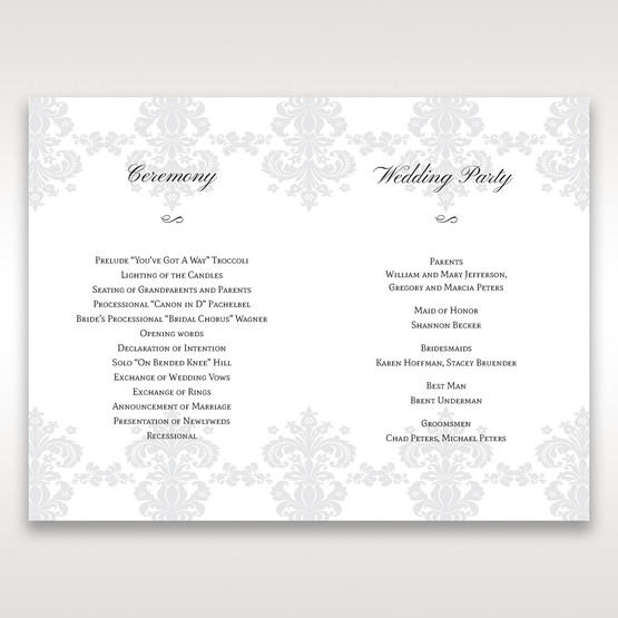White Letter-fold Damask Pocket - Order of Service - Wedding Stationery - 77