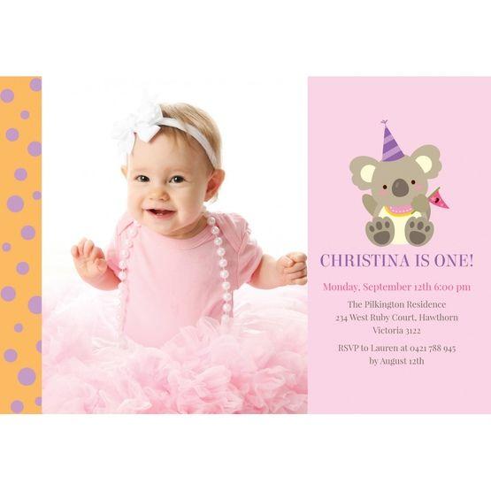Pink Koala Cheer Squad - 1st Birthday Invitations - 81