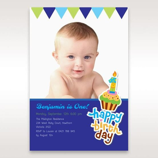 Blue Cup Cake I - 1st Birthday Invitations - 99