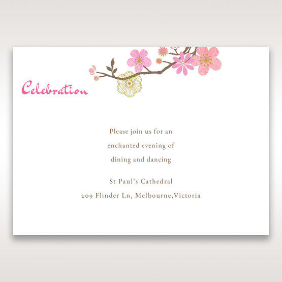 Pink Warm & Mellow Spring - Reception Cards - Wedding Stationery - 17