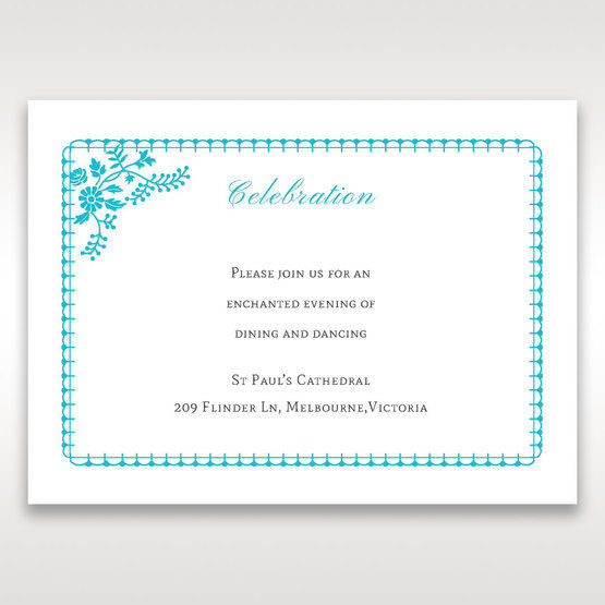Blue Romantic Modern Floral - Reception Cards - Wedding Stationery - 47