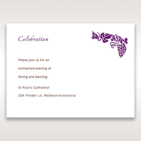 Purple Royal Purple Winery - Reception Cards - Wedding Stationery - 68