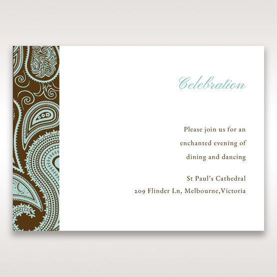 Blue Vintage Swirls - Reception Cards - Wedding Stationery - 81
