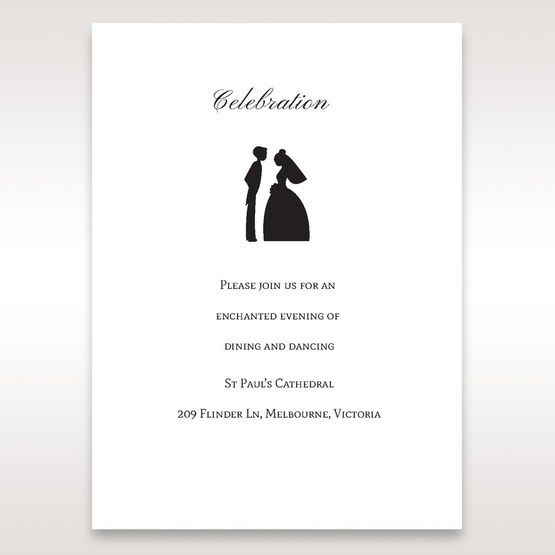 Black Traditional Birde and Groom - Reception Cards - Wedding Stationery - 69