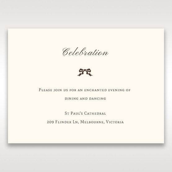 Brown Shimmering Gold Floral Chains - Reception Cards - Wedding Stationery - 98