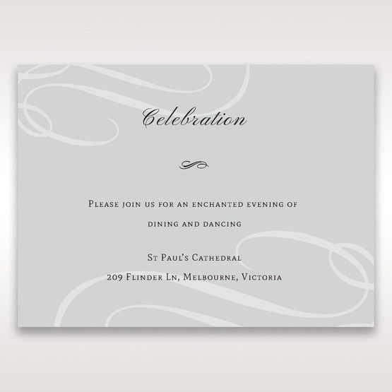 Silver/Gray Elegant Swirls; Silver & White - Reception Cards - Wedding Stationery - 70