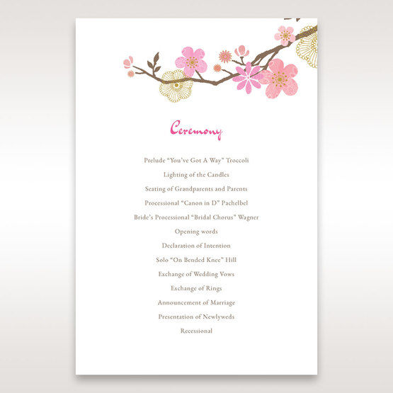 Pink Warm & Mellow Spring - Order of Service - Wedding Stationery - 52