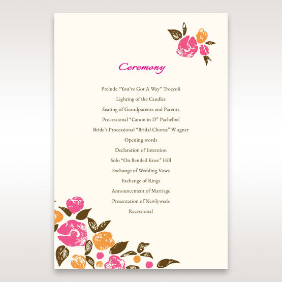 Red Flowers & Gemstones - Order of Service - Wedding Stationery - 97
