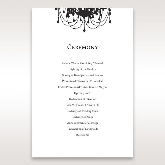 Black Black, White Chandelier - Order of Service - Wedding Stationery - 0