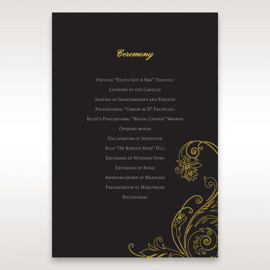Black Urban Chic with Gold Swirls - Order of Service - Wedding Stationery - 18