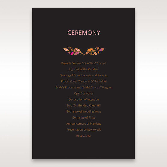 Black Wild Floral Wreath - Order of Service - Wedding Stationery - 27
