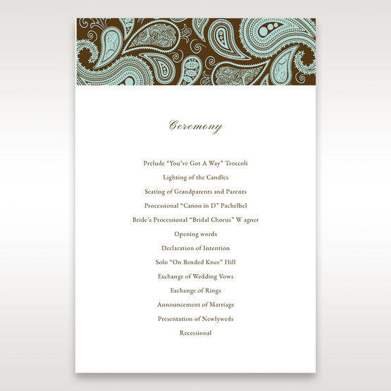 Blue Vintage Swirls - Order of Service - Wedding Stationery - 30