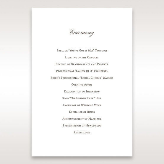 Brown Jeweled Couture in Brown - Order of Service - Wedding Stationery - 61