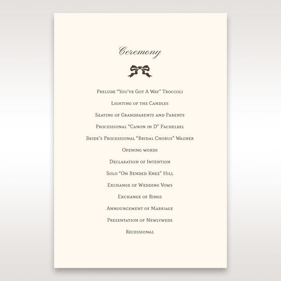 Brown Shimmering Gold Floral Chains - Order of Service - Wedding Stationery - 64