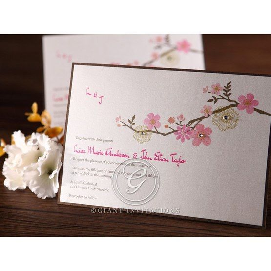 Hand assembled detail rectangular flat layer wedding card ,