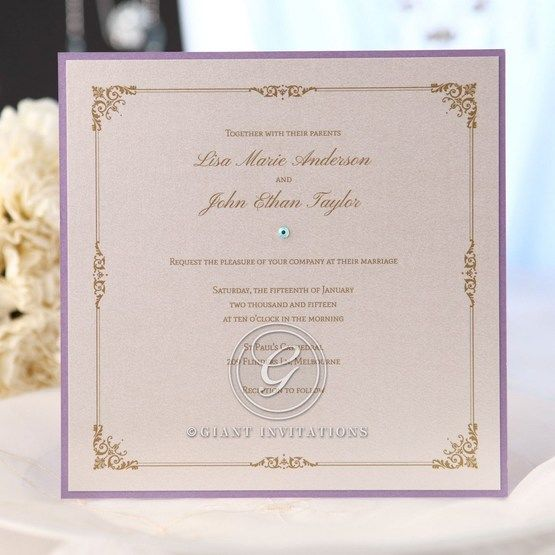 Digitally printage vintage style invitation with purple border and jewel