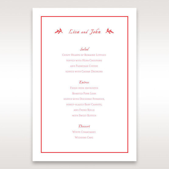 Red Old-fashioned Romance - Menu Cards - Wedding Stationery - 77