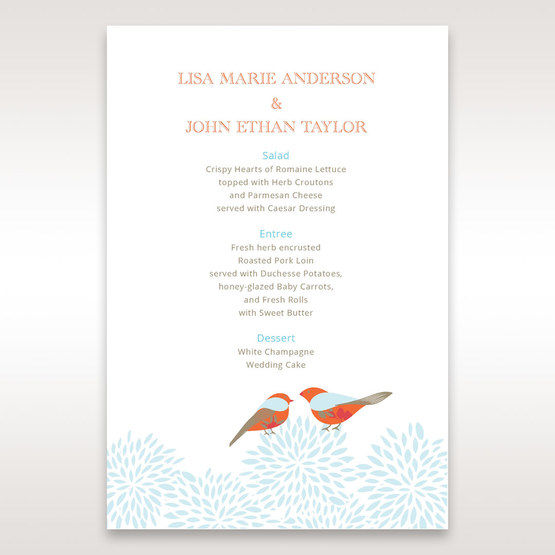 Red Love Birds - Menu Cards - Wedding Stationery - 37