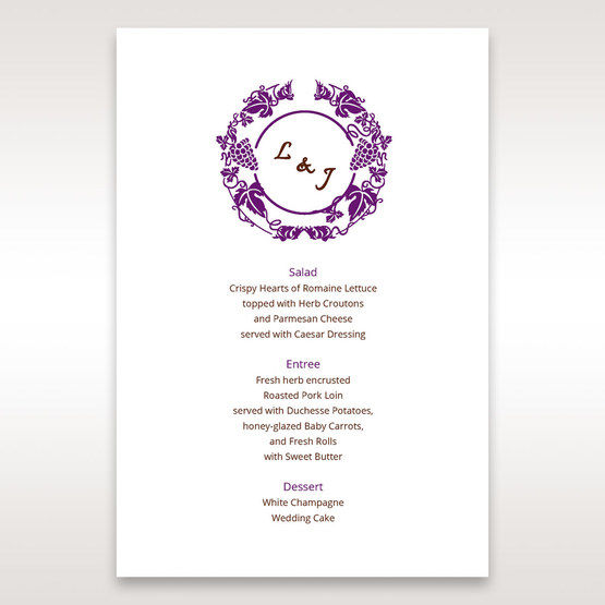 Purple Royal Purple Winery - Menu Cards - Wedding Stationery - 18