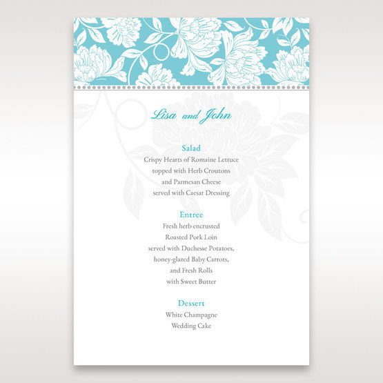 Blue Vintage Floral in Blue - Menu Cards - Wedding Stationery - 50