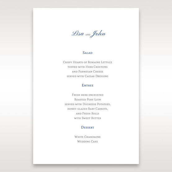 White Something Old and Blue - Menu Cards - Wedding Stationery - 58