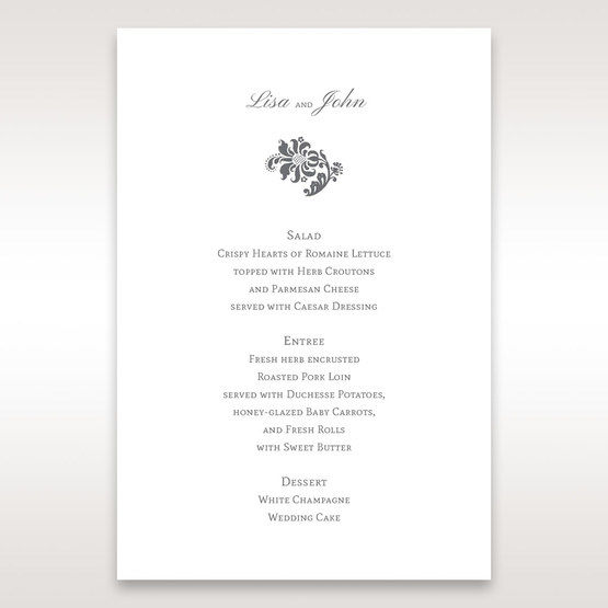 Blue Handmade Jeweled Floral - Menu Cards - Wedding Stationery - 32