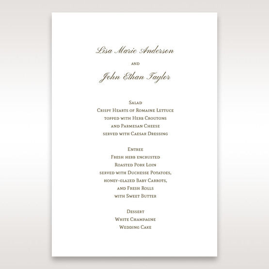 Brown Embossed Classic Couture, Gold - Menu Cards - Wedding Stationery - 12