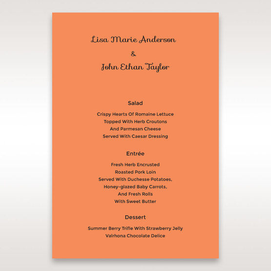 Orange Laser Peacock Laser Cut Pocket With Foil - Menu Cards - Wedding Stationery - 8